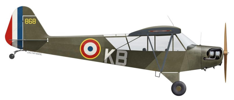 ALAT, Piper L-4, 1er Groupe du 1er Régiment d'Artillerie Coloniale, Peloton d'Aviation de la 1e division d'infanterie motorisée, 1944-1945